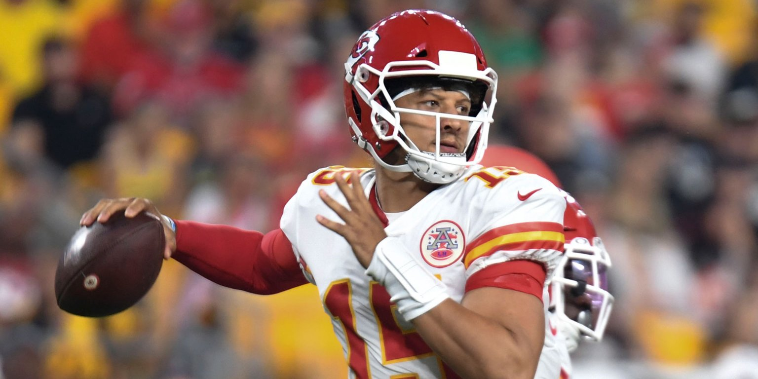 It took Patrick Mahomes just 96 seconds to throw his first touchdown pass of the 2019 NFL season