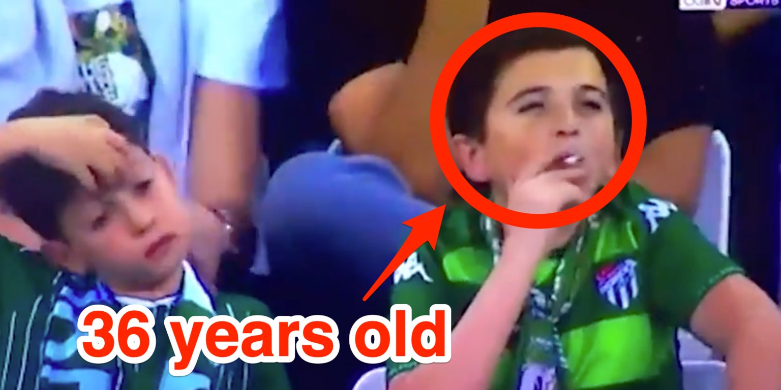 The 'child' who went viral after being filmed smoking at a charity soccer game is reportedly actually 36