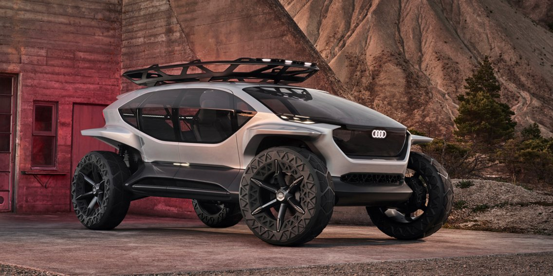 Audi created an autonomous quattro off-roader that uses flying drones to illuminate the road instead of headlights