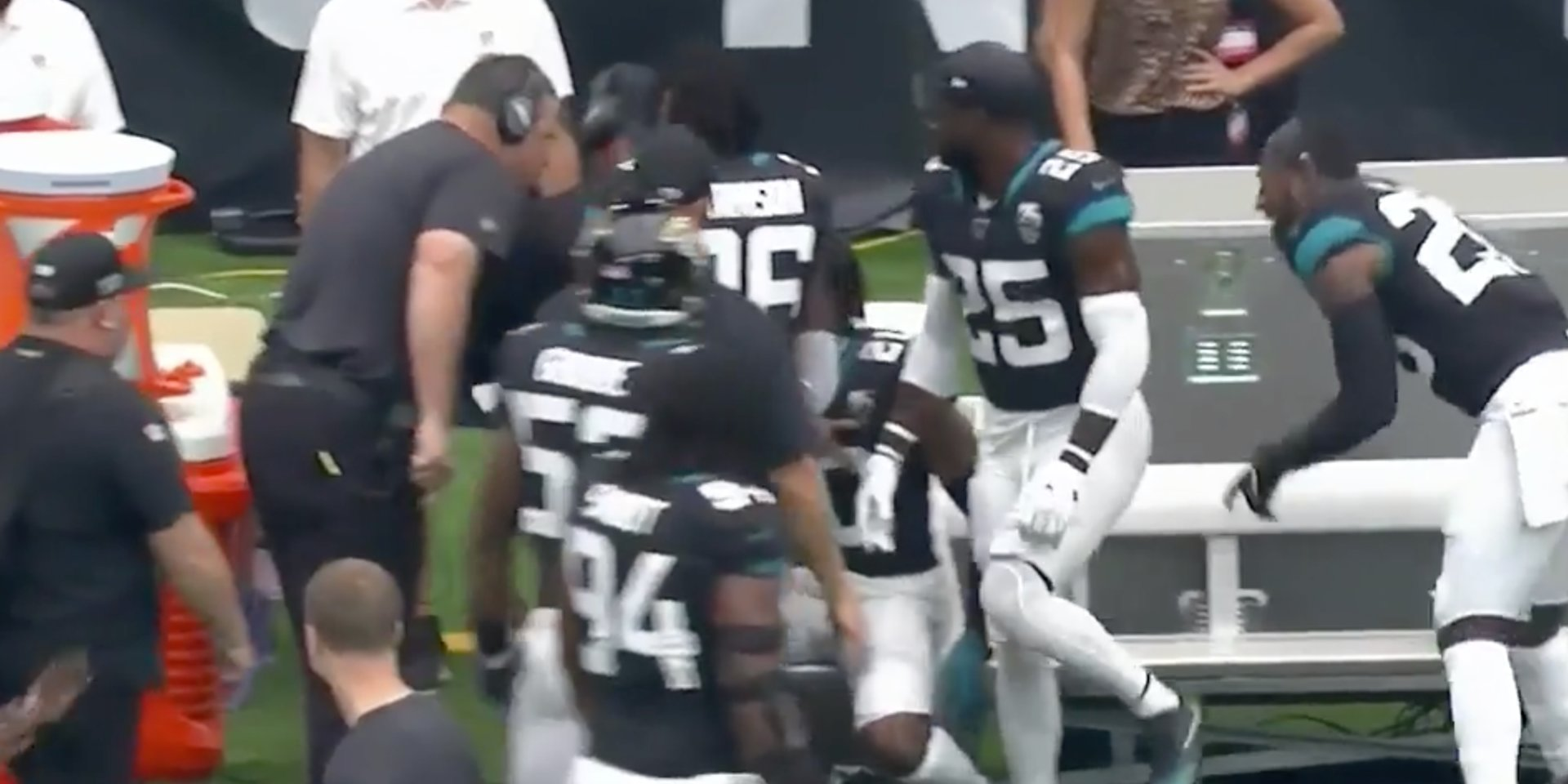 Jags star Jalen Ramsey and head coach Doug Marrone get into shouting match and had to be separated on sideline
