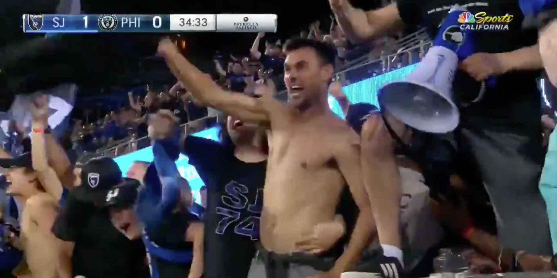 Chris Wondolowski served his one-game MLS suspension shirtless in the stands with a mob of fans