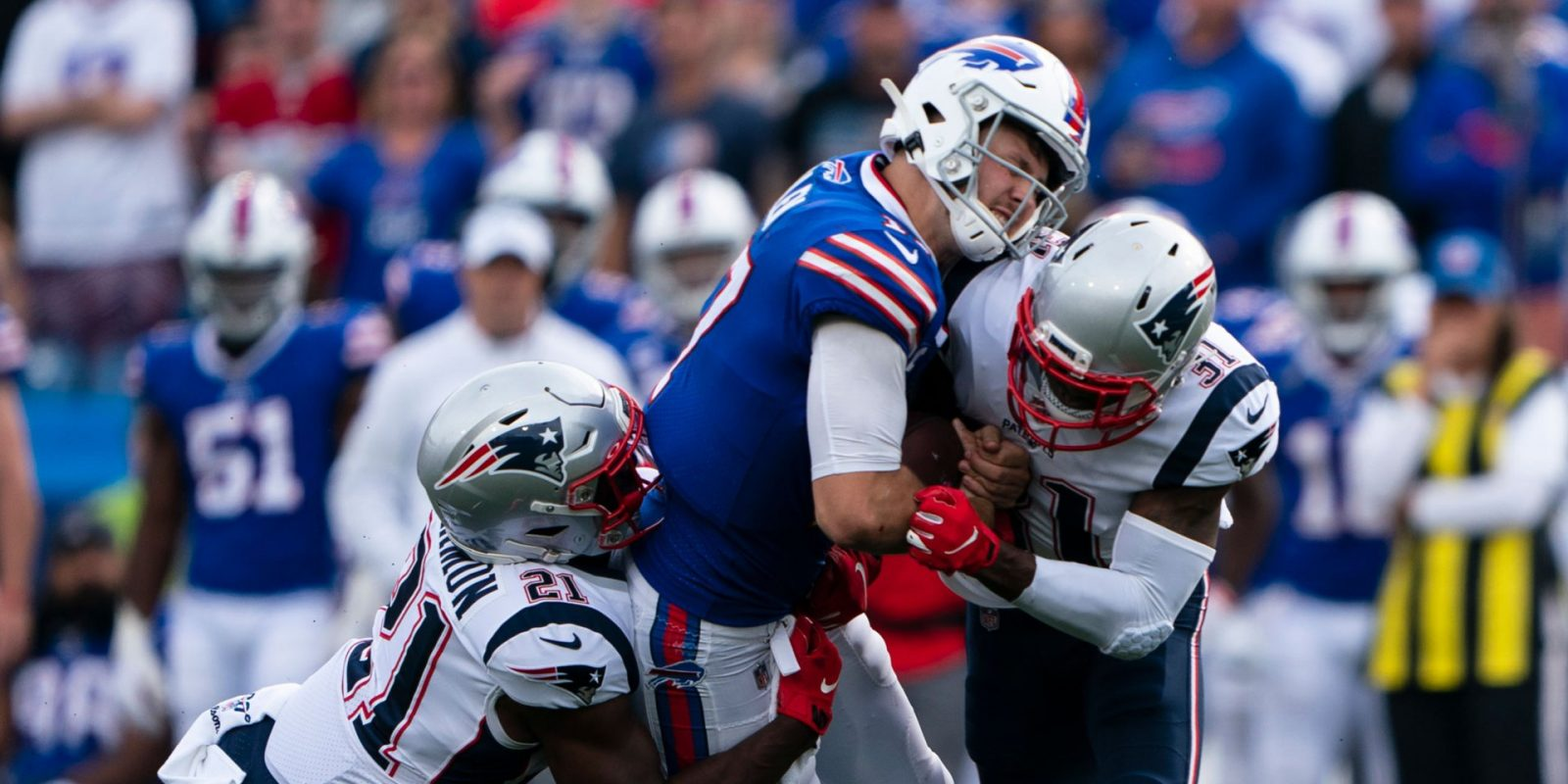 Bills defender accuses NFL of double-standard over Tom Brady after vicious hit on Josh Allen