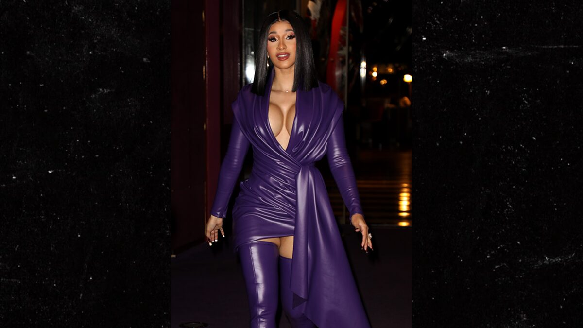 Cardi B Wears Purple Latex During Paris Fashion Week