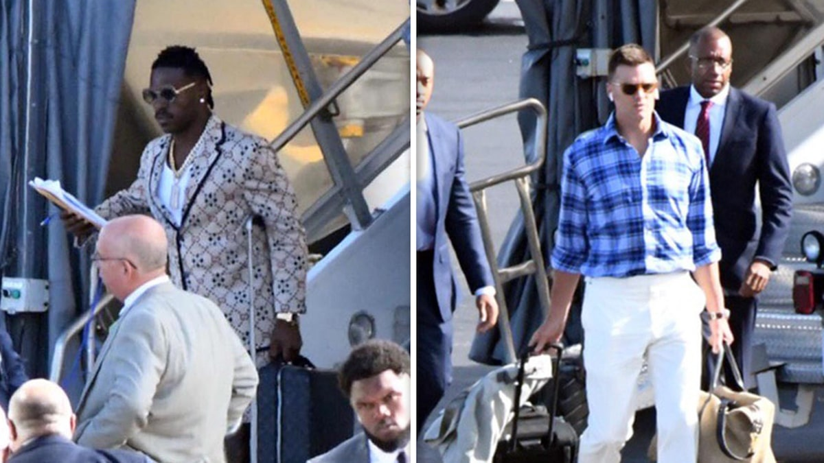 Antonio Brown Arrives in Miami with Tom Brady for Dolphins Game (Photos)