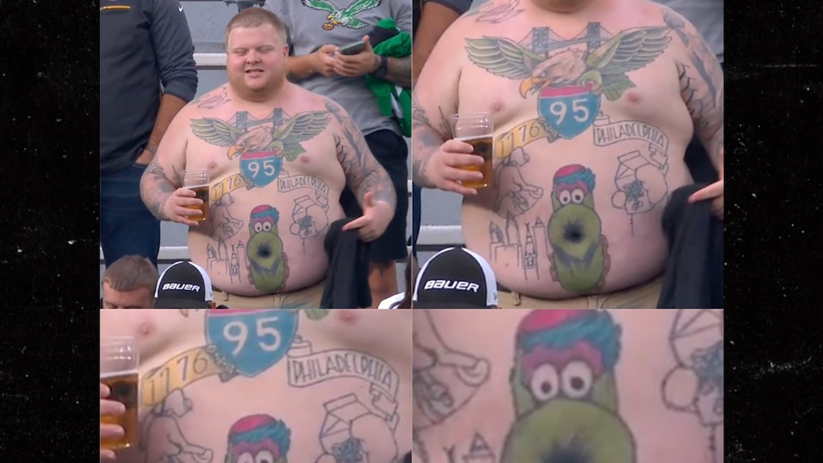 Eagles Fan Shows Off Glorious Phanatic Belly Button Tattoo At Packers Game