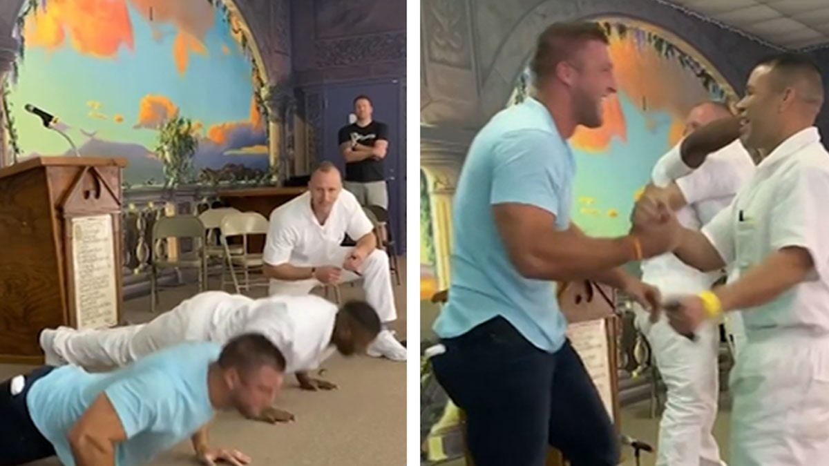 Tim Tebow Gets Destroyed In Push-Up Contest During Prison Visit