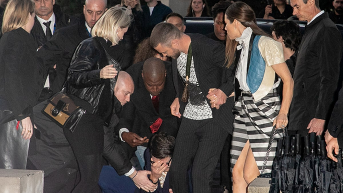 Justin Timberlake Attacked By Prankster Outside Louis Vuitton Show