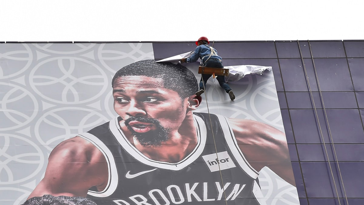 Lakers-Nets Banner Featuring LeBron Removed From Shanghai Building