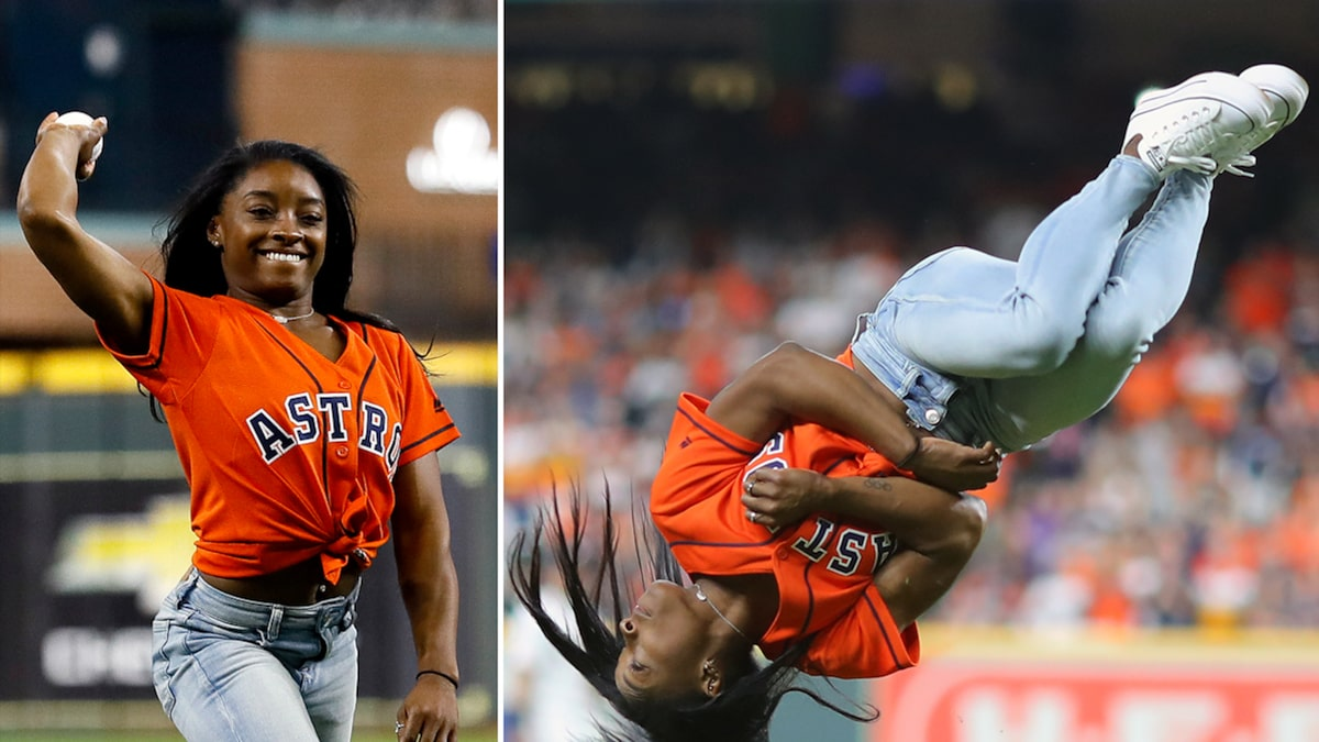 Simone Biles Flips Out for World Series First Pitch, Awesome Video!