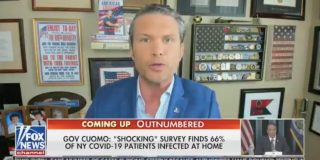 Fox News host Pete Hegseth urges healthy people to 'have some courage' and get 'out there' to help build herd immunity while broadcasting from inside his house