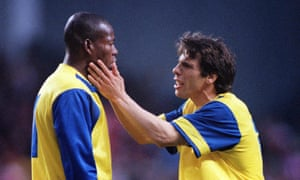 Faustino Asprilla and Gianfranco Zola during the 1994 European Cup Winners' Cup final against Arsenal