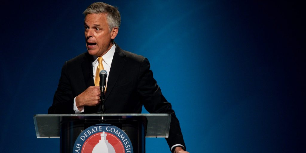 In this Monday, June 1, 2020, photo, former Gov. Jon Huntsman, Jr., speaks during the Utah Gubernatorial Republican Primary Debate in Salt Lake City. Huntsman Jr. has one of the most recognizable names in the state as a former popular governor and son of a billionaire philanthropist. He stepped down as U.S. ambassador to Russia under Donald Trump to return to Utah and make a run and reclaiming his seat. (Ivy Ceballo/Deseret News, via AP, Pool)