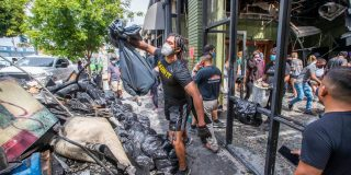 Destruction swings at the system, but the punch lands on peaceful protests