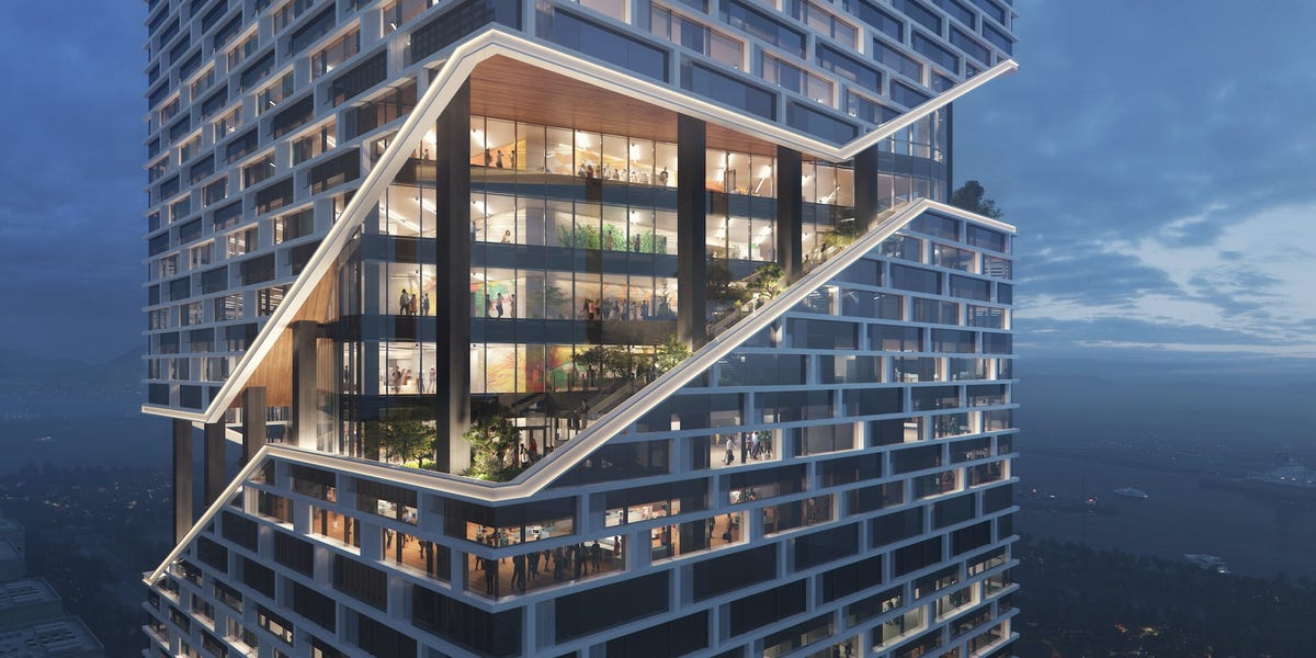 Chinese smartphone behemoth Vivo is building a 32-story tower wrapped in gardens for its new headquarters in China's booming tech district. Take a look inside.