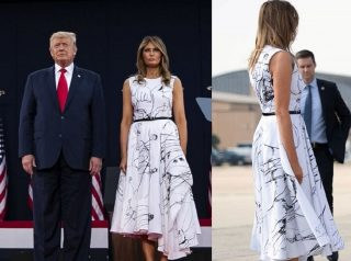 Melania Trump Dress Mocked On Social Media – People Say It Looks Like Donald Trump Drew On It With A Sharpie!