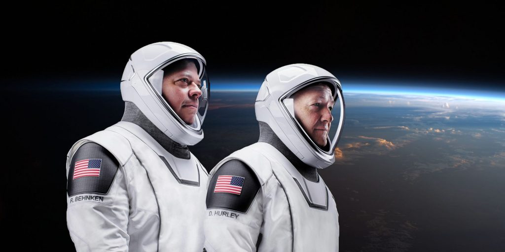 nasa astronauts bob behnken doug hurley spacex crew dragon spacesuits demo2 demo 2 earth background