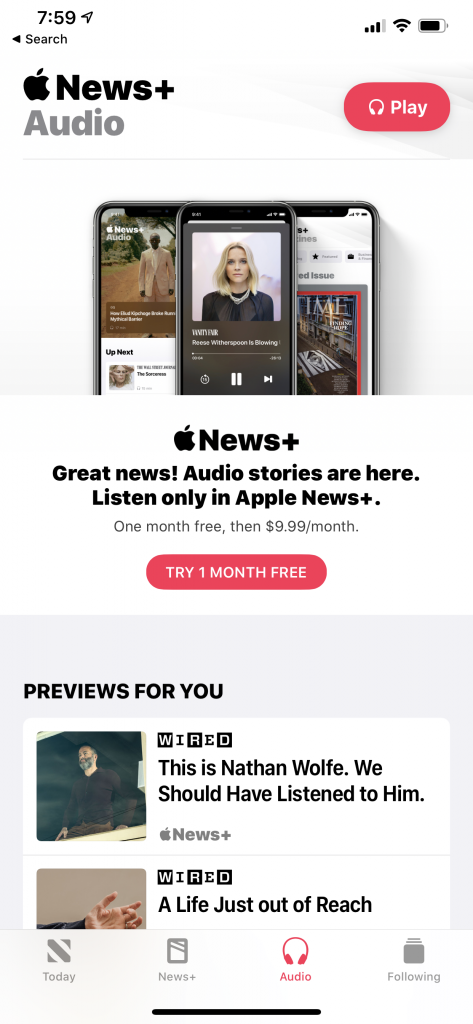 How to get audio stories on Apple News for the iPhone 3