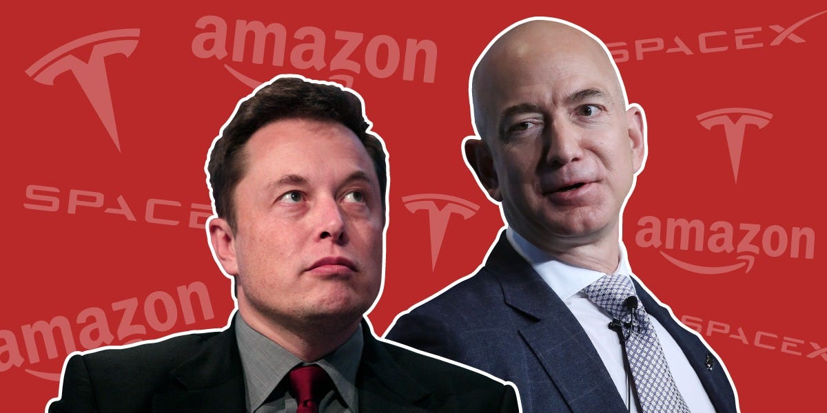 A history of the rivalry between Elon Musk and Jeff Bezos, 2 of the world's most powerful CEOs who have been feuding for over 15 years (AMZN, TSLA)