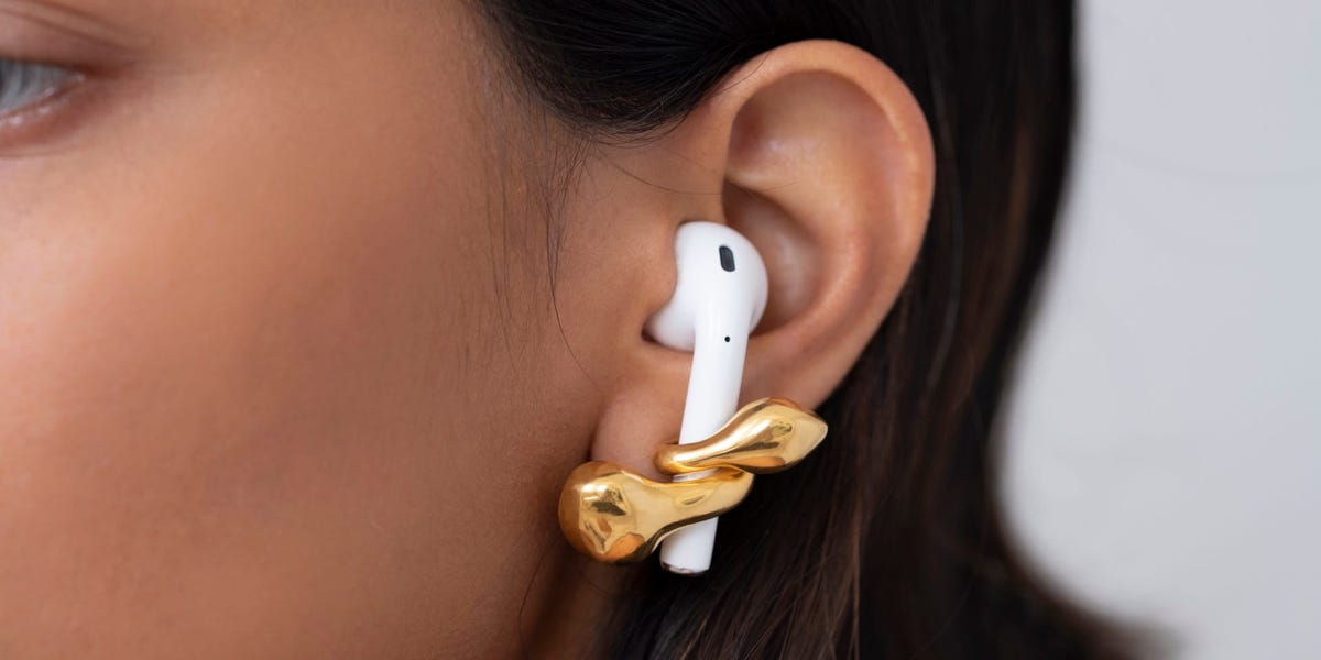 A jewelry designer created earrings that hold AirPods in place because she kept losing them while working from home — take a look