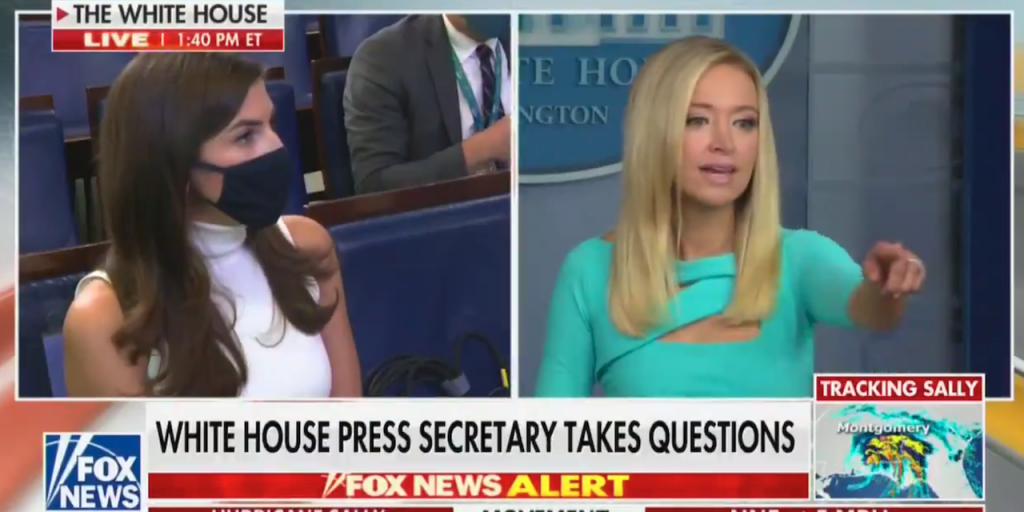 White House press secretary Kayleigh McEnany takes a question from CNN's Kaitlan Collins