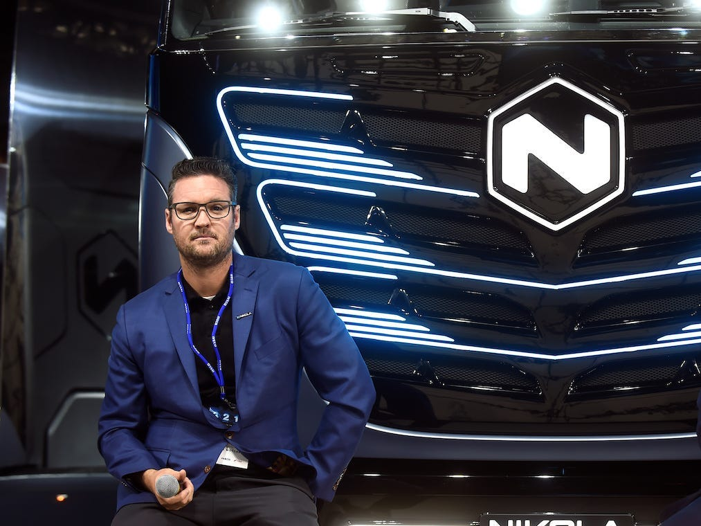 Nikola chairman Trevor Milton with CNH Industrial CEO Hubertus Muhlhauser at an event in Italy