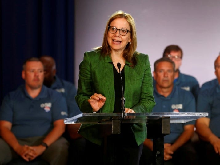 FILE PHOTO: General Motors Chairman and CEO Mary Barra makes a statement as members of the United Auto Workers bargaining committee listen at the start of contract talks between the union and automaker in Detroit, Michigan, U.S., July 16, 2019. REUTERS/Rebecca Cook/File Photo