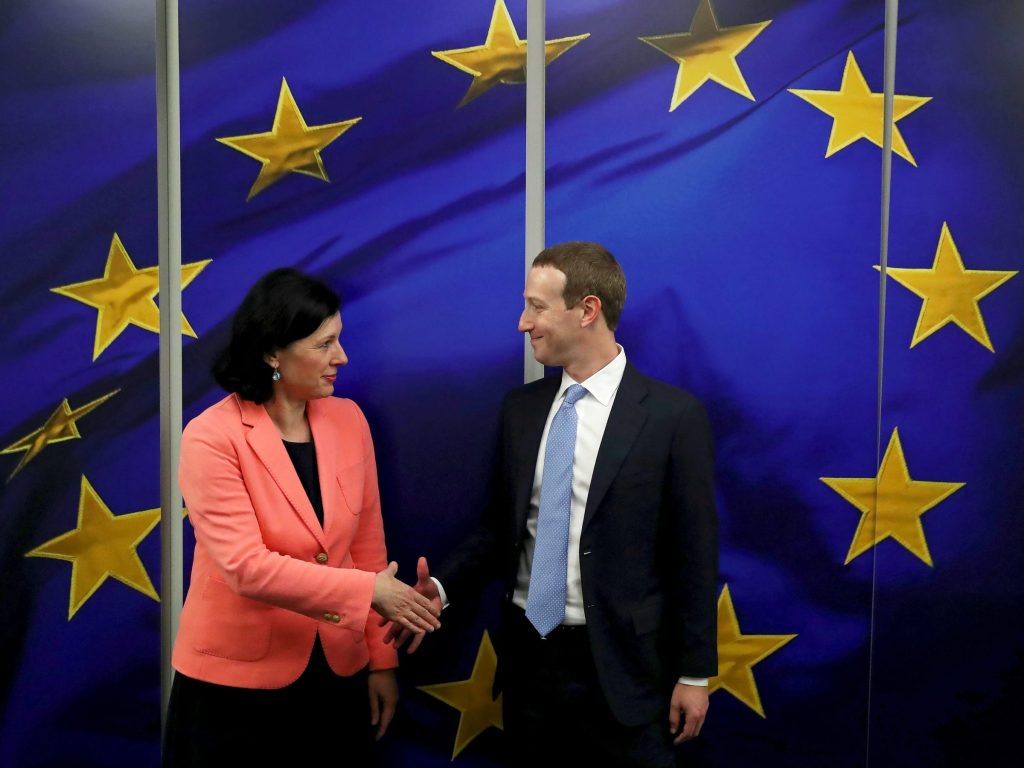 Facebook Chairman and CEO Mark Zuckerberg meets with European Commissioner for Values and Transparency Vera Jourova at the EU Commission headquarters in Brussels, Belgium February 17, 2020. REUTERS/Yves Herman
