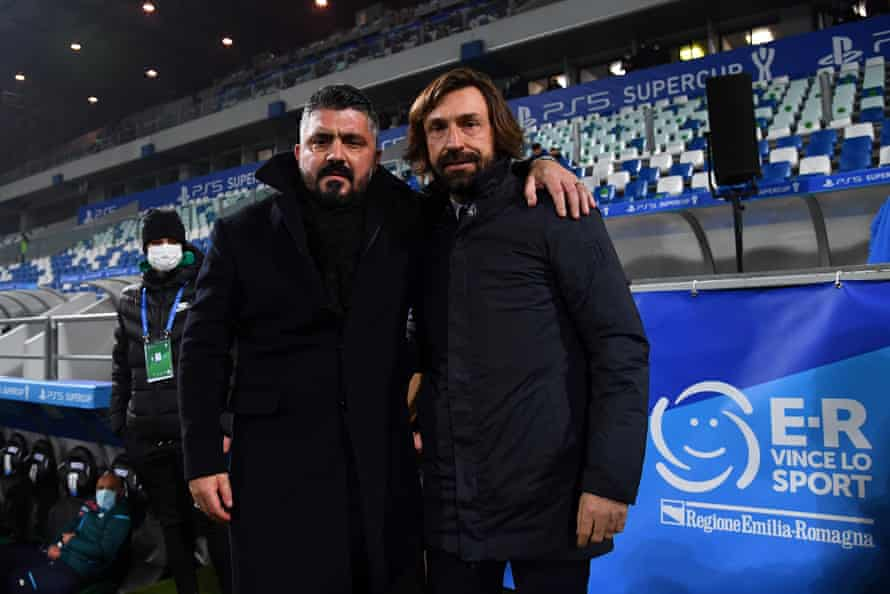 Gattuso and Pirlo before the game.