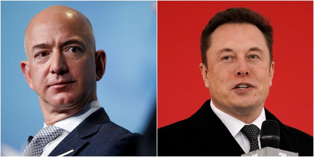 Elon Musk appeared to make another dig at rival Jeff Bezos over a report that Musk's attention is drifting away from Tesla (TSLA)
