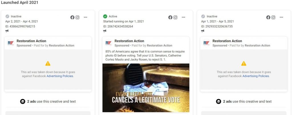 Facebook ads from Restoration Action
