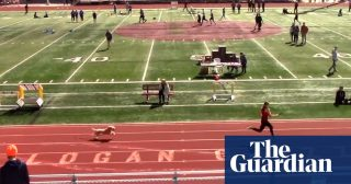 Dog breaks loose to win relay race in US high school track event – video